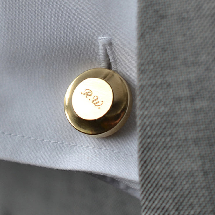 edward brass cufflinks | engraved | close up