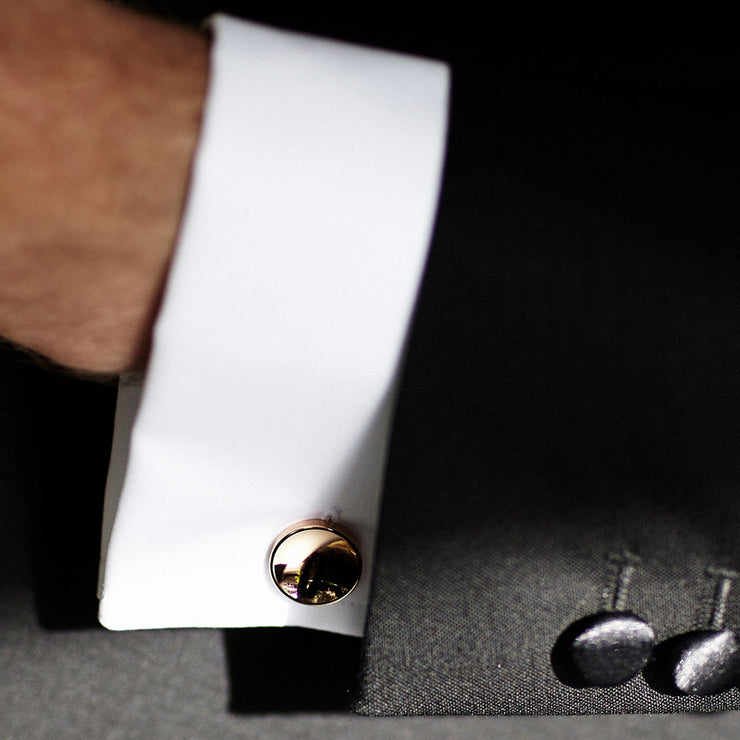 elliot rose gold cufflinks | close up | black tie