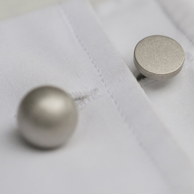 grafton reversible | silver cufflinks | close up