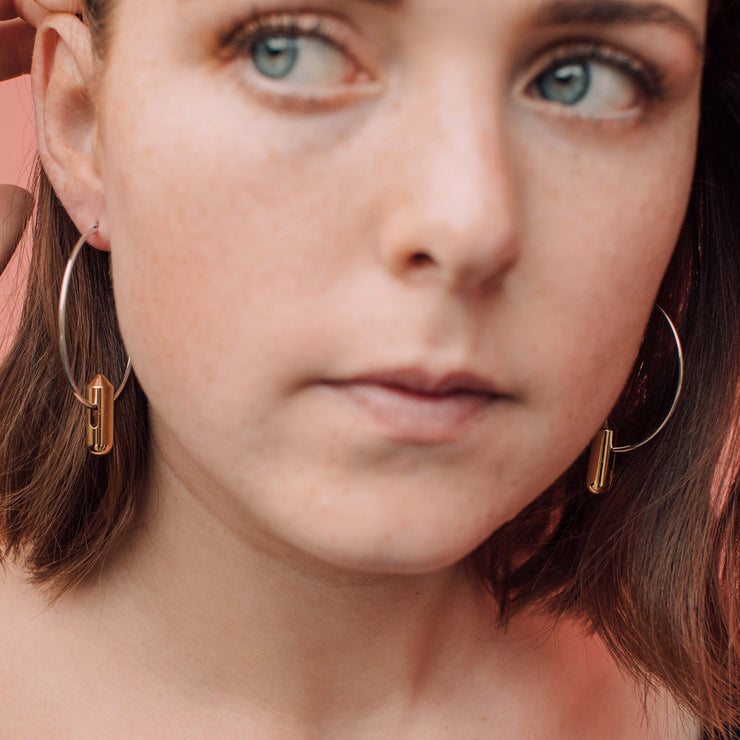 juno gold and silver hoop earrings
