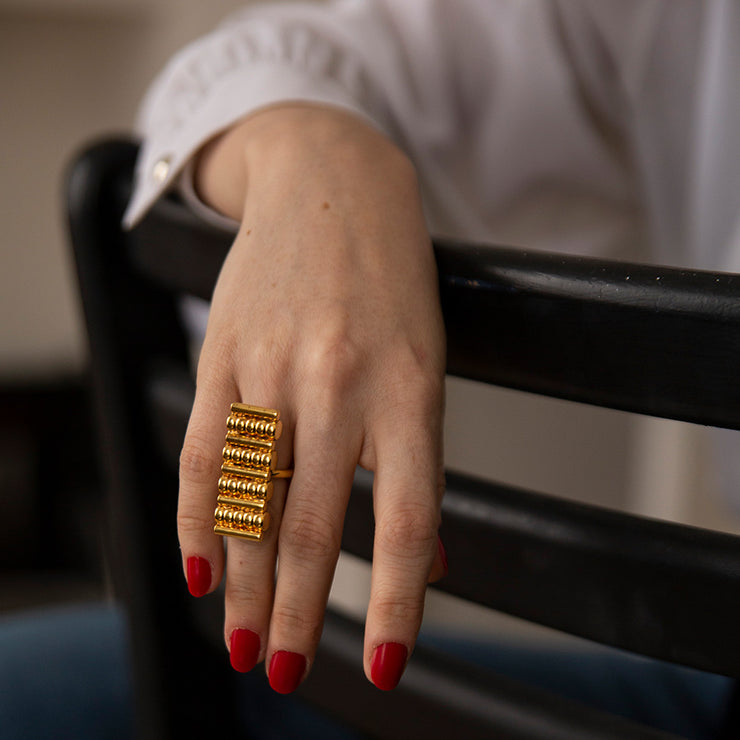 margot gold cocktail ring | statement jewellery