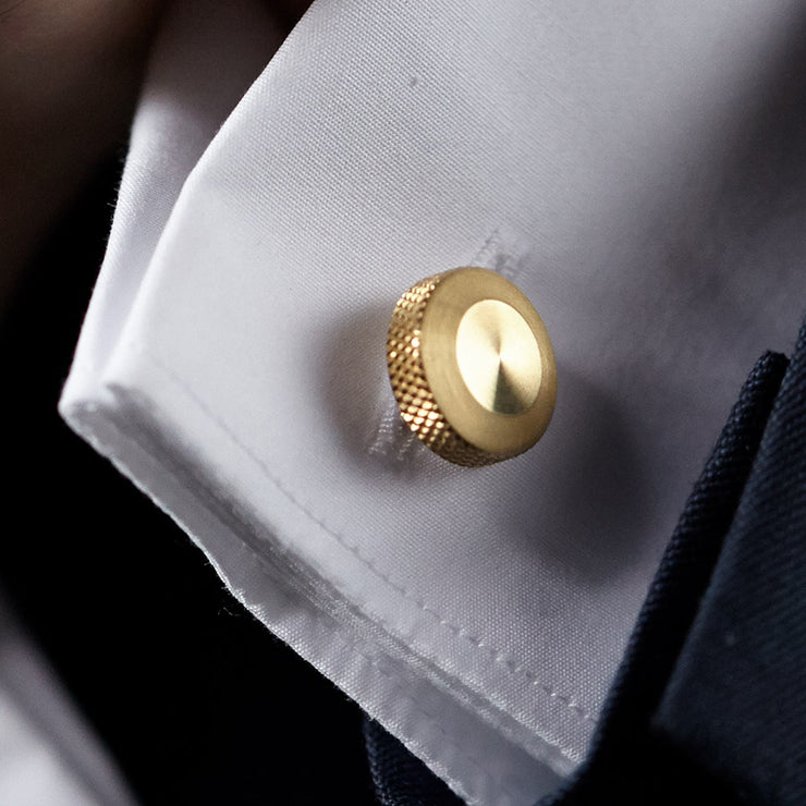 oliver brass cufflink | close up