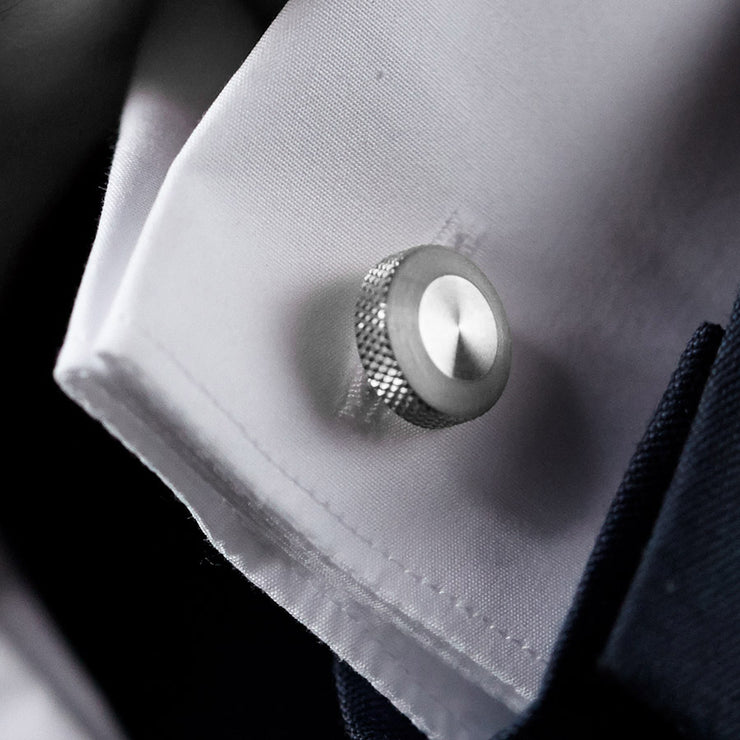 oliver steel cufflink | close up