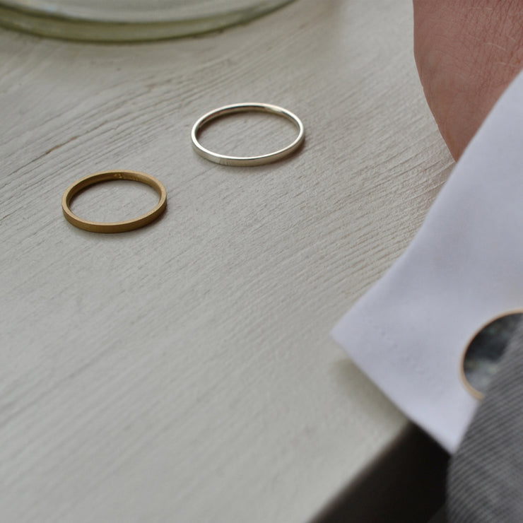 18 carat gold matte wedding rings | designer wedding bands