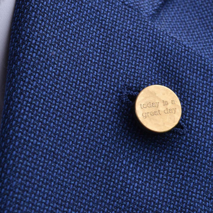 dot brass lapel pin | how to wear