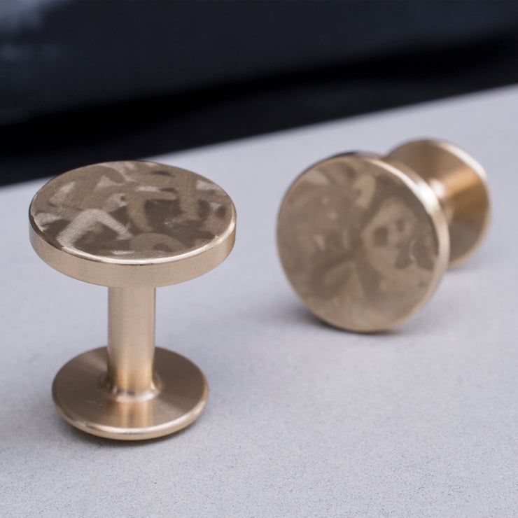 dot mottled brass cufflinks