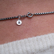 mens 55cm silver box chain | clasp detail