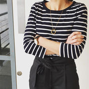 mia gold necklace | how to wear | stripes