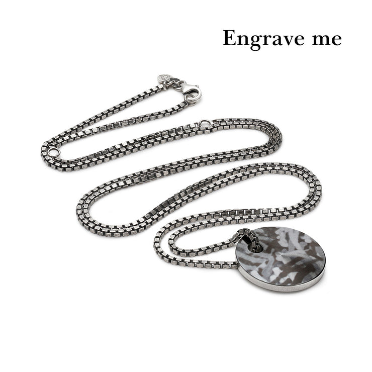 dog tag mottled silver necklace | laid
