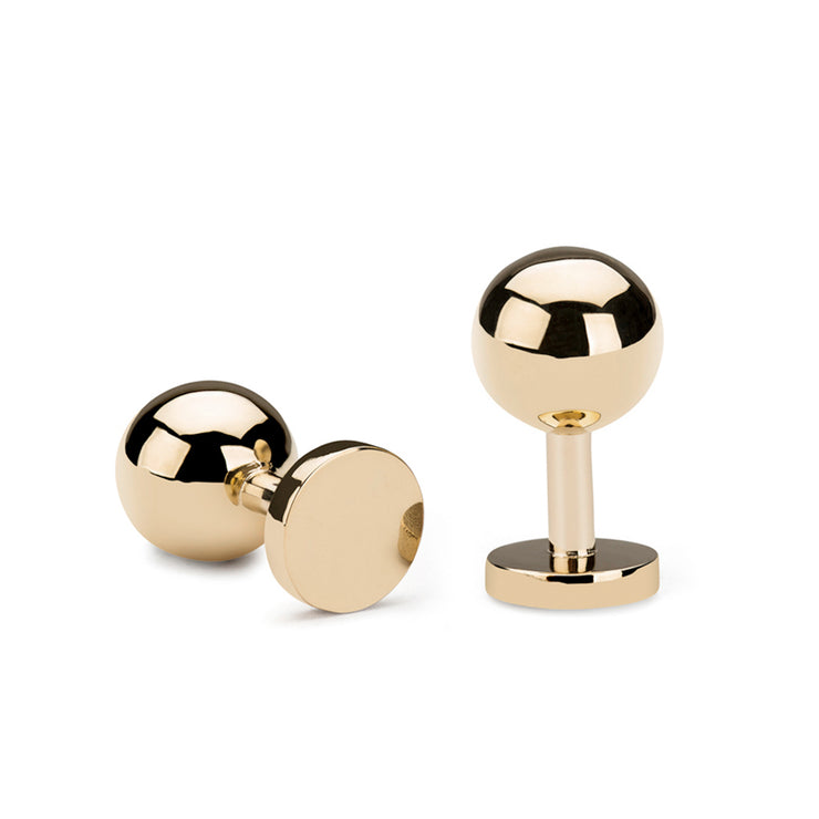 grafton polished gold cufflinks | 9 carat gold ball cufflinks