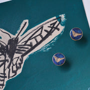 cufflinks | jess bird illustration | blue