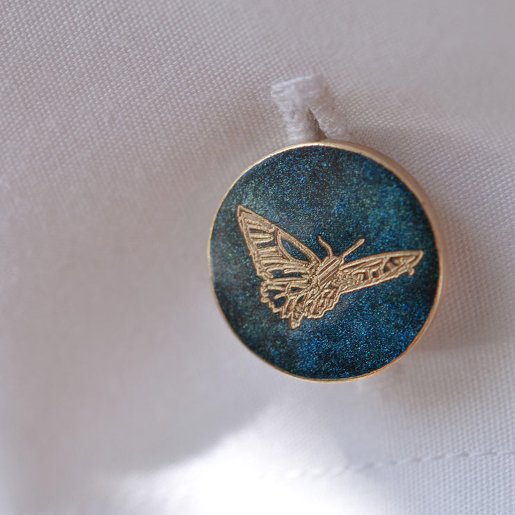 green butterfly cufflink | detail