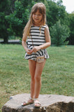 MAEVE PEPLUM PLAYSUIT - BLACK AND WHITE STRIPES