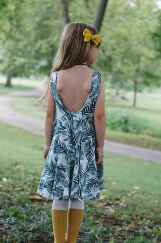 LUCCA TWIRL DRESS - PALM LEAVES