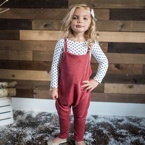 FRENCH TERRY UNISEX OVERALLS - RUBY