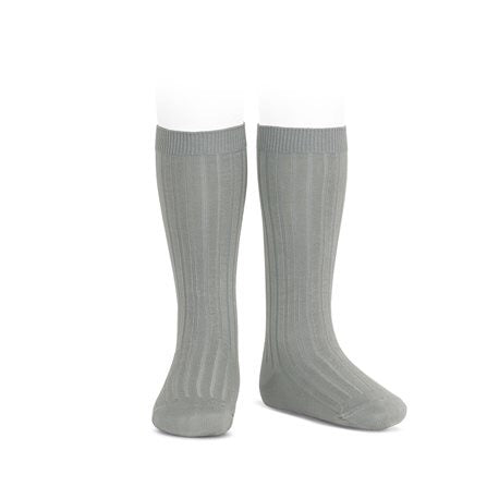 RIBBED KNEE HIGH SOCKS - FOG