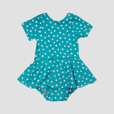 AQUA SCATTERED DOTS - MAEVE PEPLUM PLAYSUIT - KATERINA SCOOP BACK TOP - RUFFLE SHORTIES