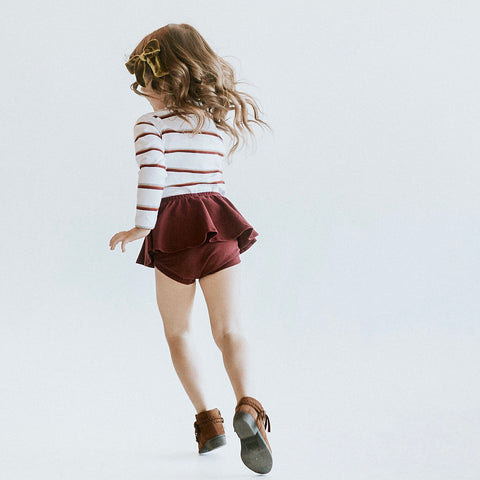 HIGH WAISTED RUFFLE SHORTIES - CRANBERRY