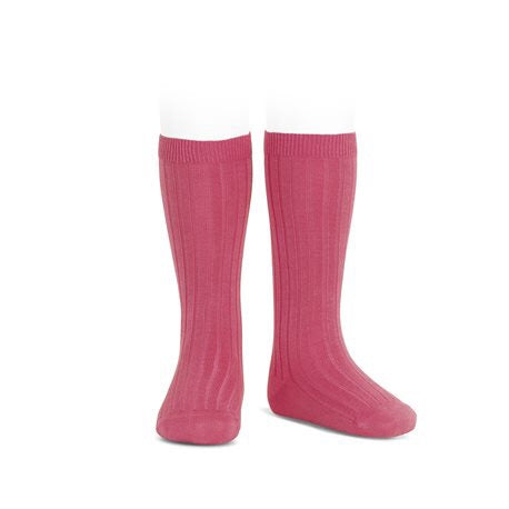 RIBBED KNEE HIGH SOCKS - CARMINE