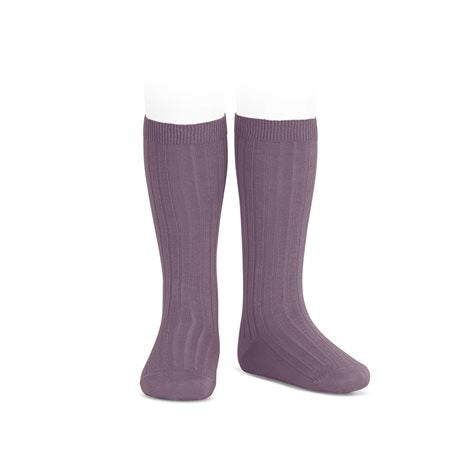 RIBBED KNEE HIGH SOCKS - AMETHYST