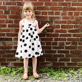 Suri Organic Double Gauze Dress - Black & White Dots