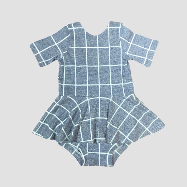 Maeve Peplum Romper - Heather Blue Grid