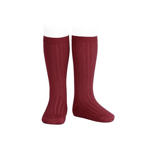 RIBBED KNEE HIGH SOCKS - RUBY