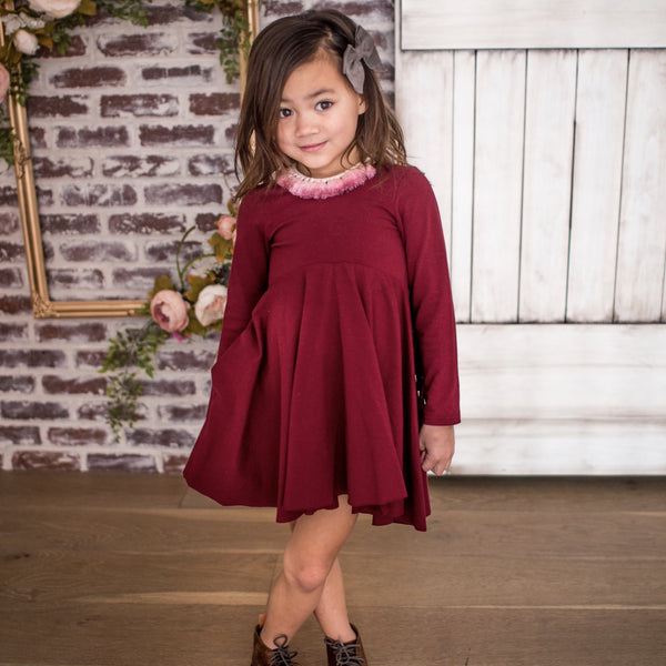 LUCCA TWIRL DRESS - CRANBERRY - WITH OR WITHOUT FRINGE
