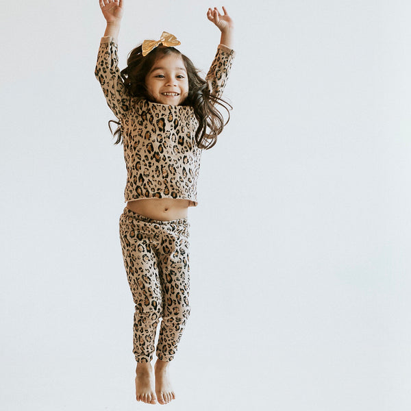 CHEETAH FRENCH TERRY LOUNGE WEAR - UNISEX TEE & PANTS