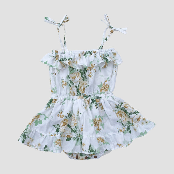 Wren Skirted Playsuit - Sage Floral