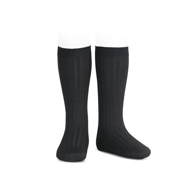 RIBBED KNEE HIGH SOCKS - BLACK