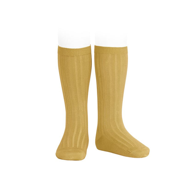 RIBBED KNEE HIGH SOCKS - CURRY