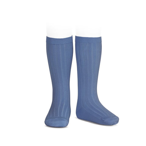 RIBBED KNEE HIGH SOCKS - FRENCH BLUE