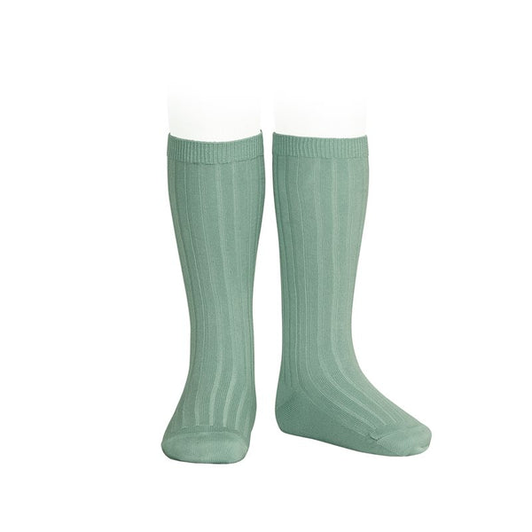 RIBBED KNEE HIGH SOCKS - JADE