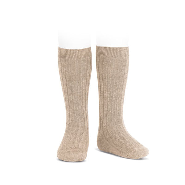 RIBBED KNEE HIGH SOCKS - NOUGAT