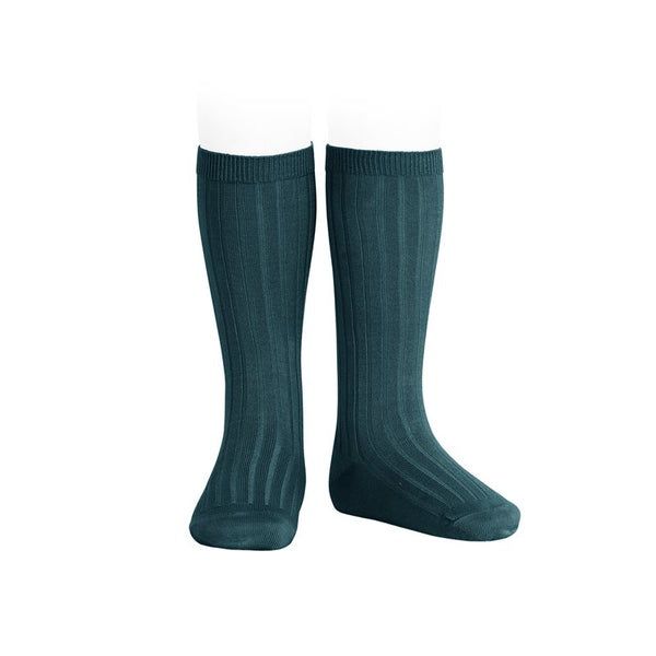RIBBED KNEE HIGH SOCKS - OIL