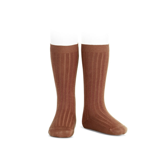 RIBBED KNEE HIGH SOCKS - OXIDE