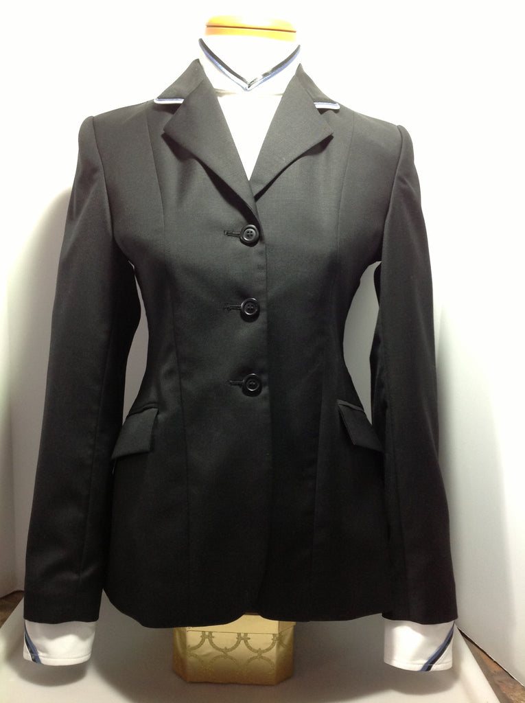 Show Jacket - Solid Black with Blue and White Piping