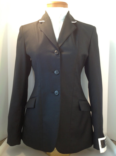 Show Jacket - Solid Black with Grey and White Piping