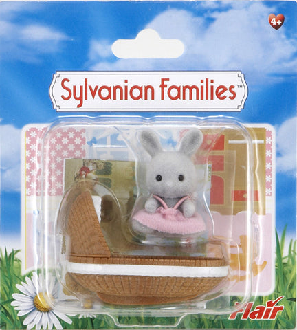 Sylvanian Families Rabbit Baby With Crib 4558