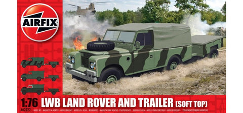 Airfix LWB Soft Top Land Rover and Trailer a02322