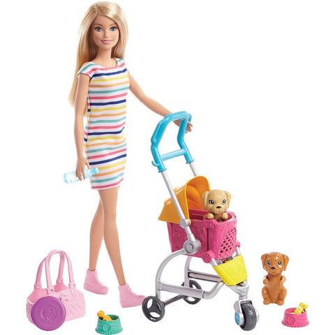 Barbie Stroll and Play Pups Doll and Accessories