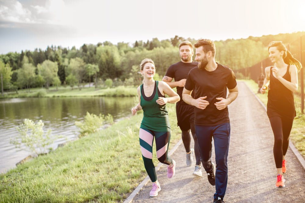 Group Friends Jogging During Morning Exercise