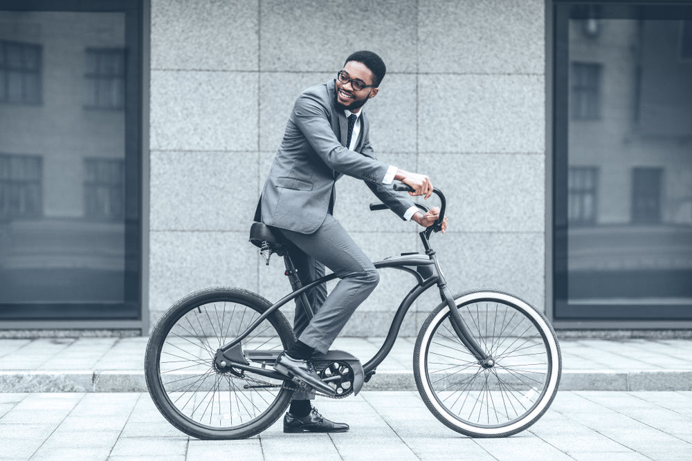 Way Office Businessman Riding Bicycle Work