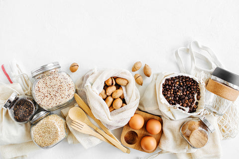 Health foods in cloth bags and glass jars