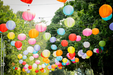Colourful Paper Lantern Hanging Trees Sky