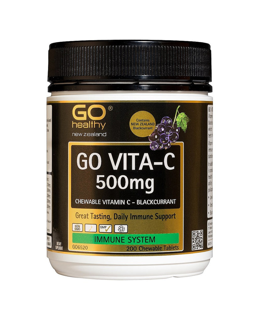 GO Vita-C 500mg B/Currant 200 Chew