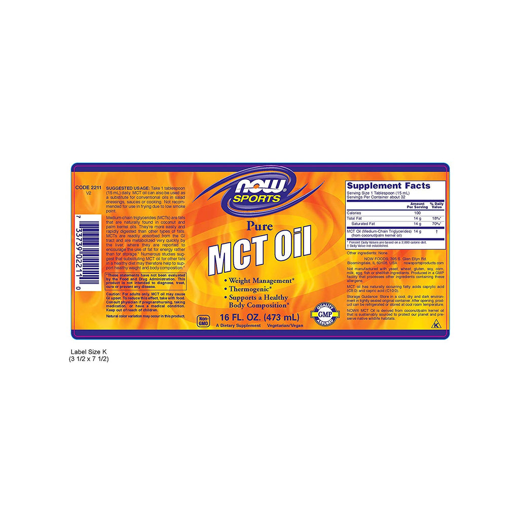 NOW MCT Oil 100% pure 473ml