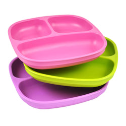 pink, green and purple plate set