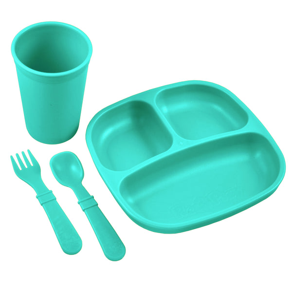 re-play toddler feeding set aqua